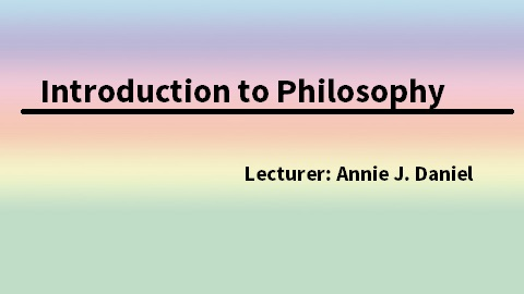 Introduction to Philosophy JNC2018004